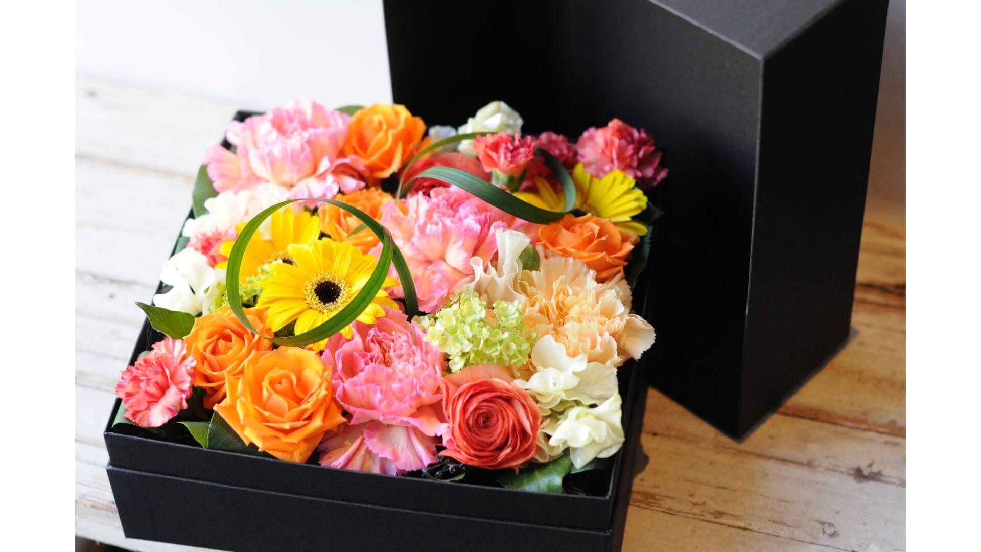 BOXフラワースクエアー・オレンジイエローB